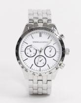 ASOS DESIGN - Klobige Armbanduhr mit Kettenarmband in Silber und schwarzem Zifferblatt