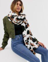ASOS DESIGN - Langer Schal mit Kuh-Print-Mehrfarbig