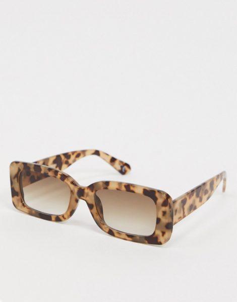 ASOS DESIGN - Mittelgroße, eckige Sonnenbrille in milchig Schildpatt-Schwarz