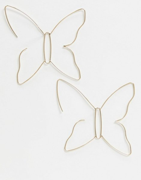 ASOS DESIGN - Ohrringe zum Durchziehen in Gold mit Schmetterlingsdesign