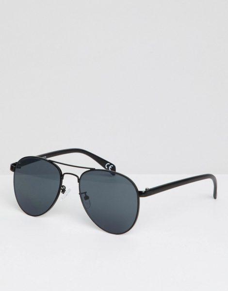 ASOS DESIGN - Pilotensonnenbrille aus Schwarzmetall mit getönten Gläsern