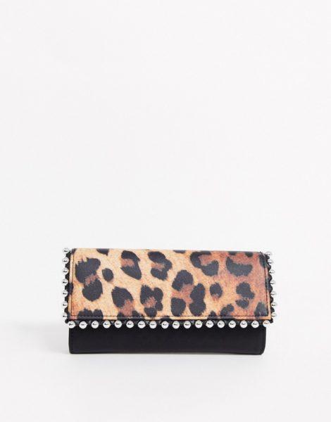 ASOS DESIGN - Rechteckige Brieftasche mit Leopardenmuster und Kugelrand-Mehrfarbig