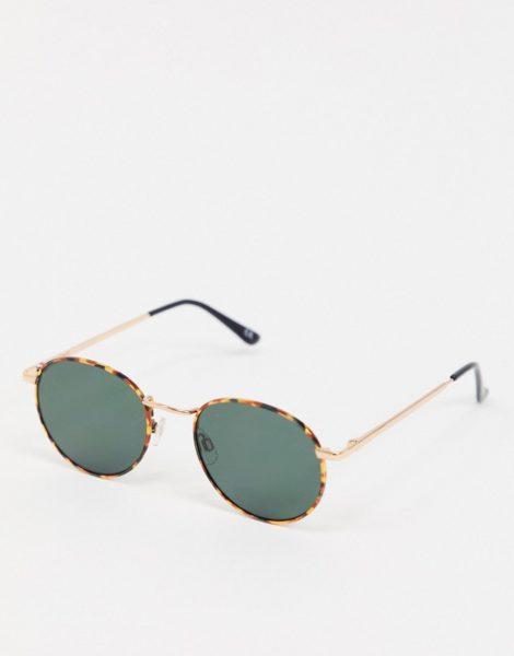 ASOS DESIGN - Runde Metall-Sonnenbrille aus Schildpatt mit G15 Gläsern-Braun