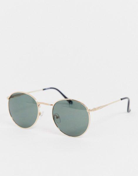ASOS DESIGN - Runde Sonnenbrille in Gold mit Nasensteg