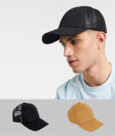 ASOS DESIGN - SPECIAL OFFER: 2er-Pack Baseballkappen in Kamel und Schwarz