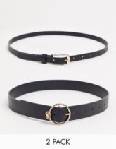ASOS DESIGN - Schmaler Gürtel und Gürtel mit runder, goldener Schnalle mit Knotendetail für die Taille oder Hüfte, 2er-Pack-Schwarz