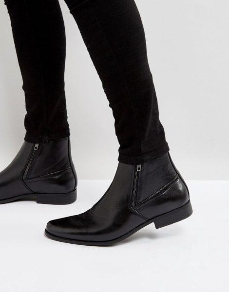 ASOS DESIGN - Schwarze Chelsea-Stiefel in Lederoptik mit Reißverschlüssen