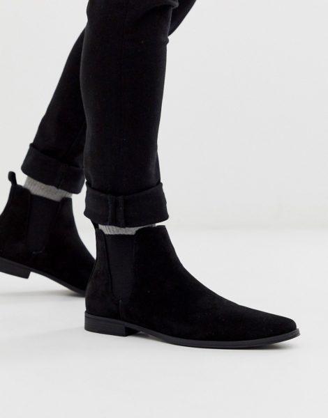ASOS DESIGN - Schwarze Chelsea-Stiefel in Wildlederoptik