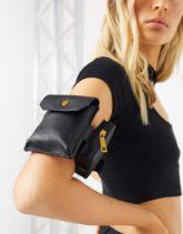 ASOS DESIGN - Schwarze Oberarmtasche mit verstellbarem Riemen und doppelten Taschendesign