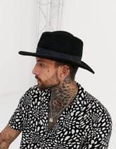 ASOS DESIGN - Schwarzer Porkpie-Hut mit breiter Krempe und Hutband