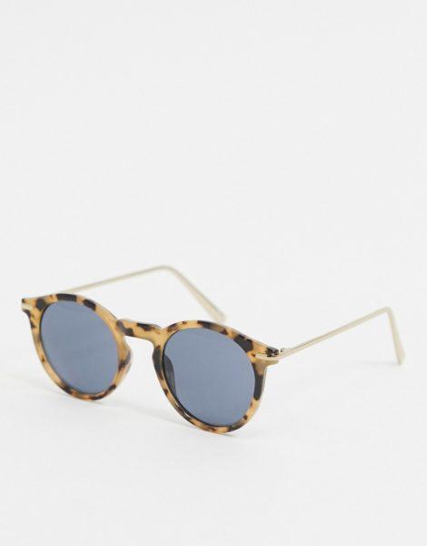 ASOS DESIGN - Sonnenbrille in marmorierter Schildpattoptik mit Metallbügeln-Braun