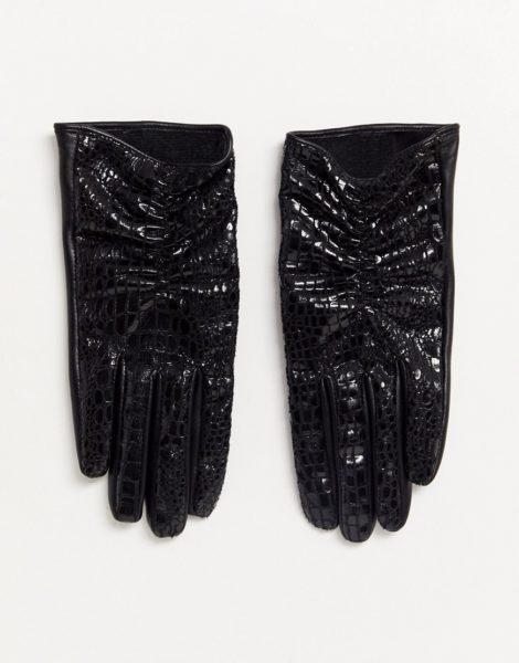 ASOS DESIGN - Touchscreen-Handschuhe aus Vinyl in Kroko-Optik und Leder-Schwarz