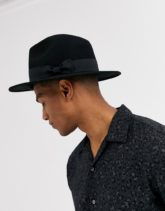ASOS DESIGN - Verstellbarer Fedora-Hut in Schwarz