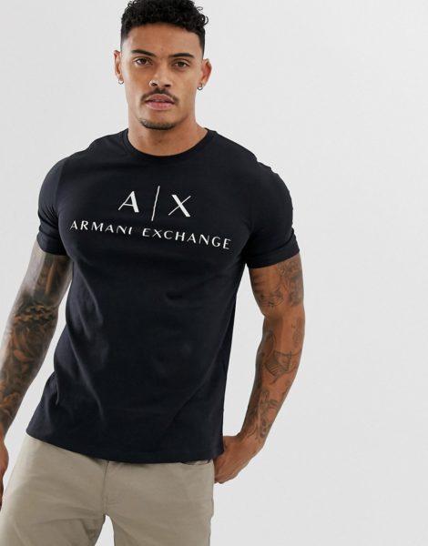 Armani Exchange - Schwarzes T-Shirt mit Logo-Schriftzug