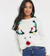 Brave Soul Petite - Weihnachtspullover mit Rentierdesign und Bommelverzierung-Navy