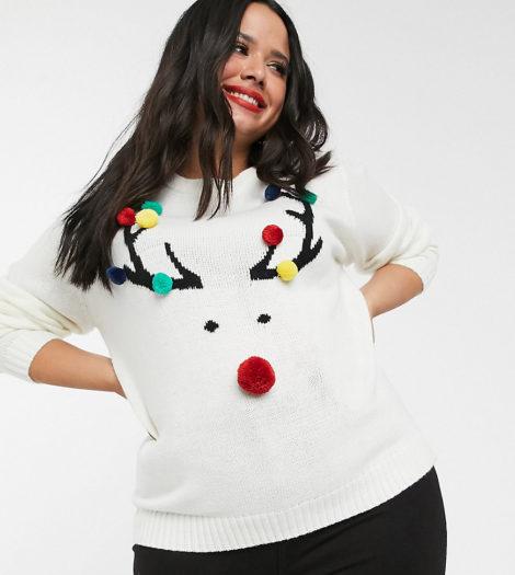 Brave Soul Plus - Weihnachtspullover mit Bommeln und Rentiermotiv-Cremeweiß