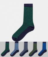 Burton Menswear - 5er-Pack Socken mit Fischgrätenmuster in Marine-Navy