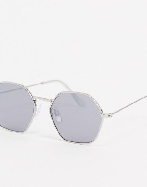 Burton Menswear - Runde Sonnenbrille mit Spiegelgläsern-Silber