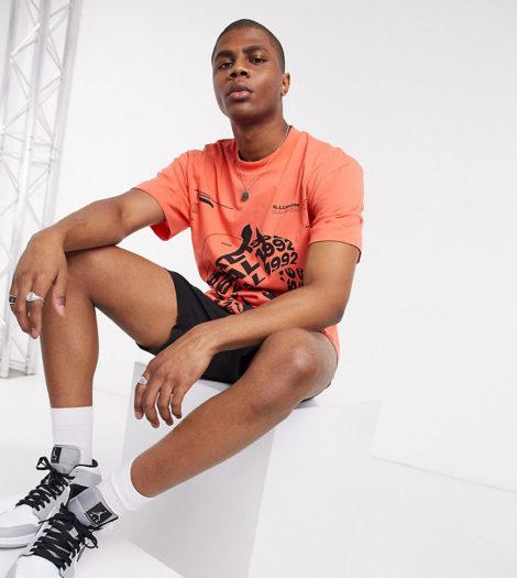 COLLUSION - Bedrucktes T-Shirt in Koralle-Orange