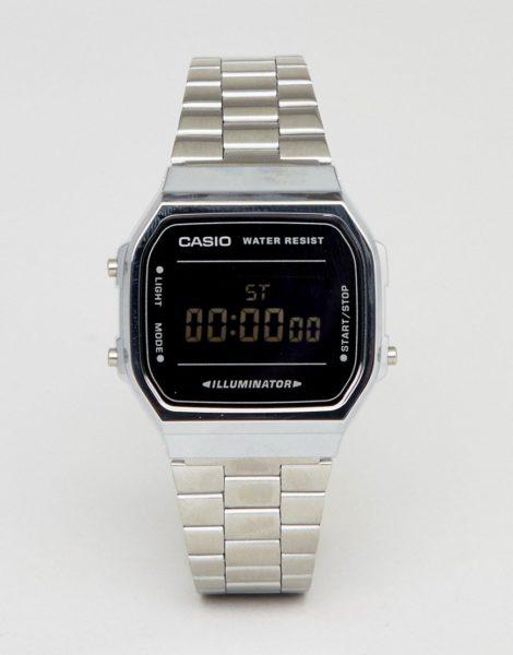 Casio - A168W - Digitale Armbanduhr in Silber/Schwarz verspiegelt