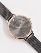 Christin Lars - Dunkelgraue Armbanduhr mit Netzarmband