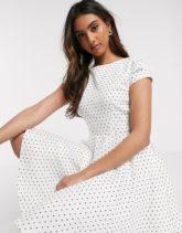 Closet London - Kurzärmliges, weißes Skater-Kleid mit Punktmuster