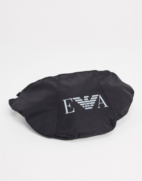 Emporio Armani - Schwarze Umhängetasche mit großem EVA-Logo
