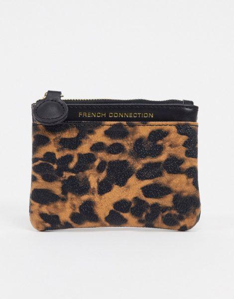 French Connection - Kleine Geldbörse aus Kunstleder mit Leopardenmuster-Mehrfarbig