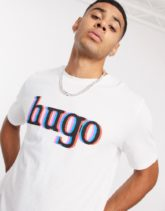 HUGO - Dontrol - Weißes T-Shirt mit großem Logo