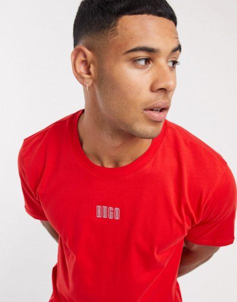 HUGO - Durned203 - Rotes T-Shirt mit Logo