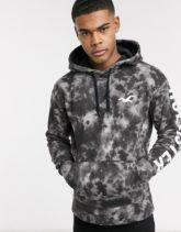Hollister - Schwarzes Kapuzensweatshirt mit Logo-Print und Batikmuster
