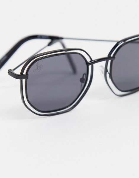 Jeepers Peepers - Eckige Sonnenbrille in Schwarz mit Freiraum zwischen dem Gestell und den Gläsern