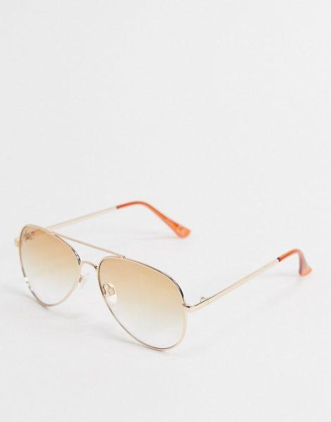 Jeepers Peepers - Piloten-Sonnenbrille in Gold mit braunen Gläsern mit Farbverlauf