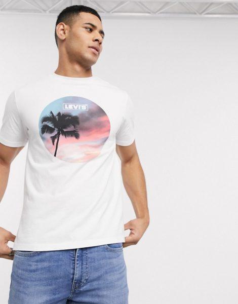 Levi's - Weißes T-Shirt mit rundem Fotoprint und Logo