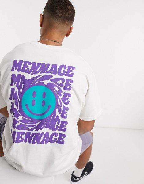 Mennace - Weißes T-Shirt mit Smily am Rücken