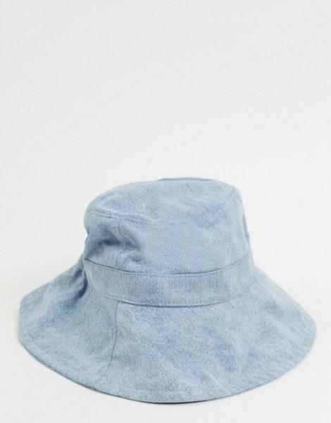 Monki - Daisy - Hellblauer Jeans-Anglerhut mit Bindebändchen
