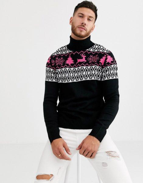 Native Youth - Weihnachtspullover mit Norwegermuster und Rollkragen in Schwarz mit Muster in Neonrosa
