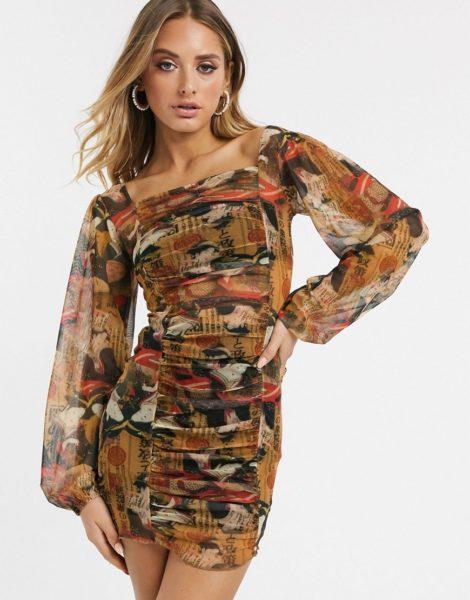 New Girl Order - Gerafftes Bodycon-Kleid mit verschiedenen Prints-Mehrfarbig