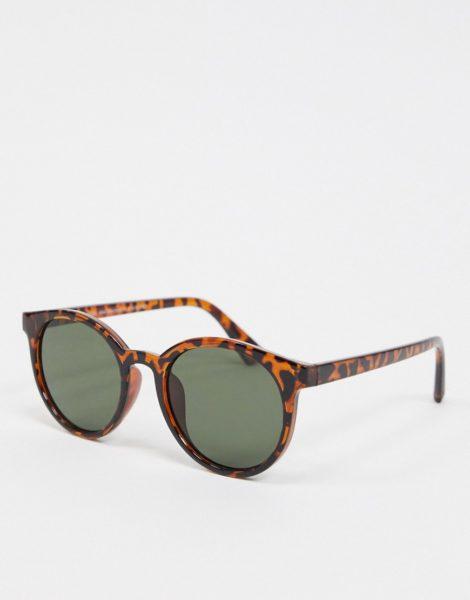 New Look - Runde Sonnenbrille aus Kunststoff in Braun