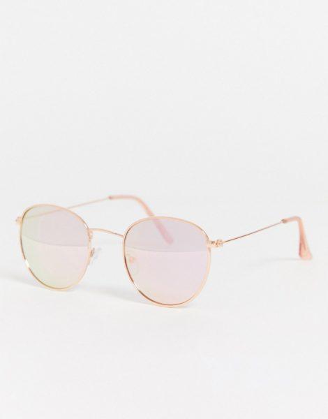 New Look - Runde Sonnenbrille in Roségold im Stil der 70er Jahre-Rosa