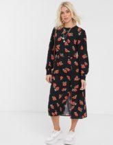 Nobody's Child - Midaxi-Kleid mit Rosenmuster und Knopfdesign-Mehrfarbig