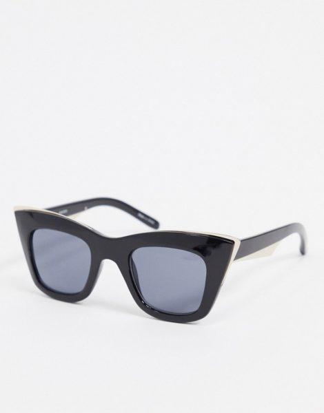 Pieces - Übergroße Cat-Eye-Sonnenbrille in Schwarz mit goldenen Details