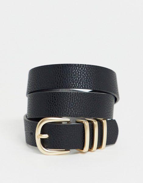 Pieces - Schwarzer Gürtel mit goldener Schnalle-Beige