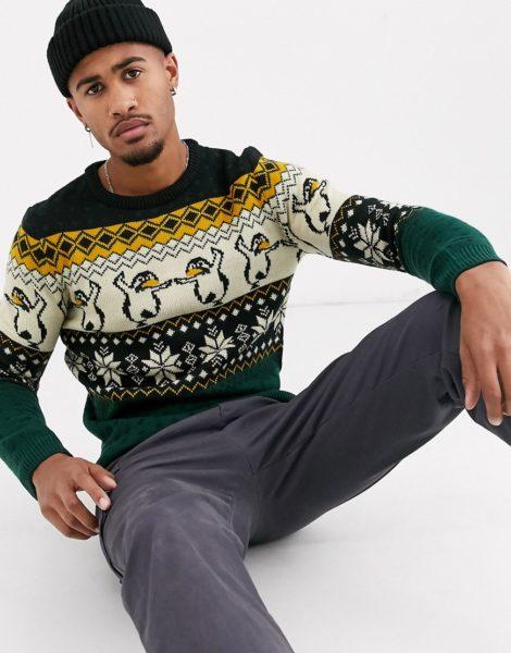 Pull&Bear - Join Life - Weihnachtspullover mit Pinguinmotiv-Mehrfarbig