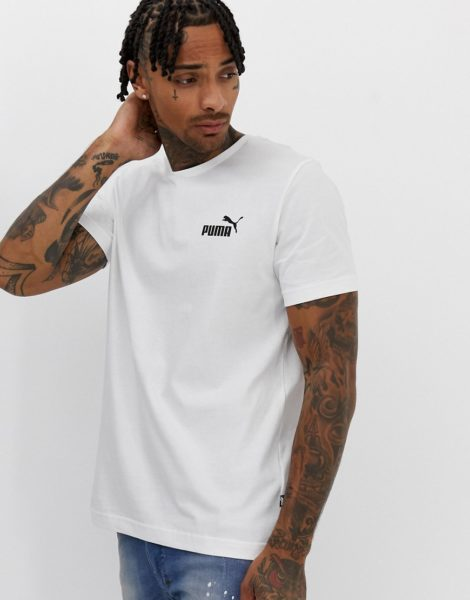 Puma Essentials - Weißes T-Shirt mit kleinem Logo