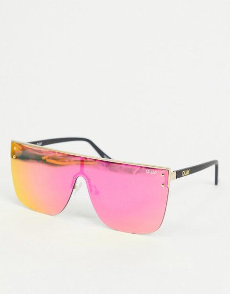 Quay Australia - Blocked - Goldene Sonnenbrille mit flachem Brauensteg und rosa Gläsern