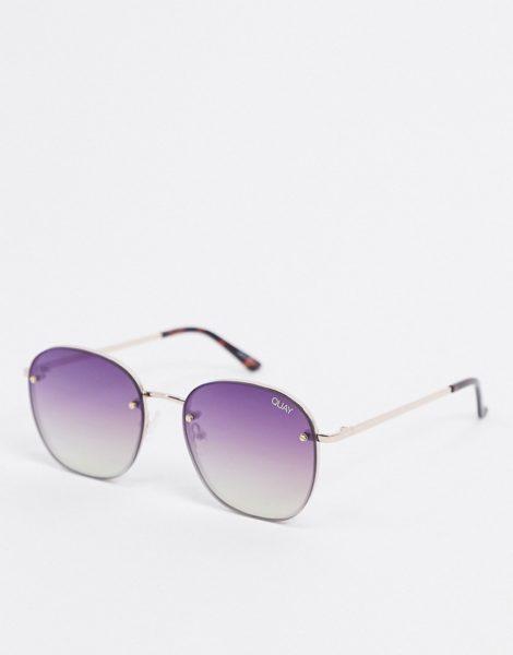 Quay Australia - Jezabell - Rahmenlose runde Sonnenbrille in Gold