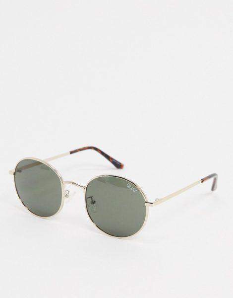 Quay Australia - Modstar - Runde Sonnenbrille in Gold mit grünen Gläsern