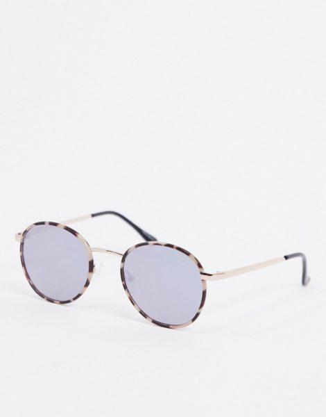 Quay Australia - Omen - Runde Sonnenbrille in cremefarbener Schildplattoptik mit blauen Gläsern-Mehrfarbig