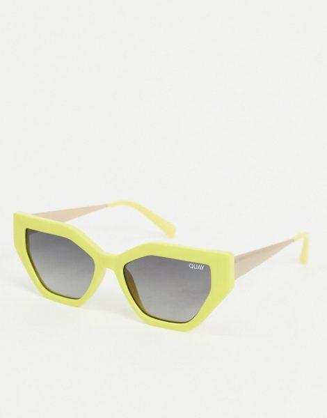 Quay Australia - Vinyl - Schmale Cat-Eye-Sonnenbrille in Gelb